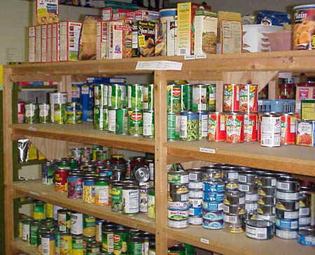 picture of wooden shelves and rows of canned food